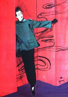 Album de la Mode du Figaro: Pierre Balmain 1945/46. Illustration: René Gruau.