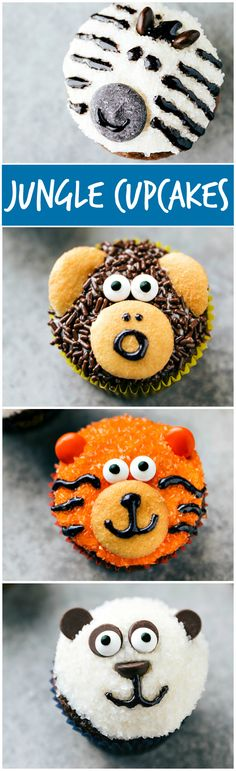 Four simple and easy to make animal jungle cupcakes -- a zebra, monkey, tiger, and a panda. via chelseasmessyapro. easy 3 ingredients easy for a crowd easy healthy easy party easy quick easy simple Zebra Cupcakes, Jungle Cupcakes, Mickey Mouse Cupcakes, Kid Cupcakes, Monster Cupcakes, Cupcake Cookies, Panda Cupcakes, Simple Cupcakes, Easy Animal Cupcakes