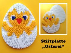 Duck hama perler beads by les loisirs de pat. Perler Bead Templates, Diy Perler Beads, Perler Bead Art, Pearler Beads, Fuse Beads, Easter Toys, Easter Egg Crafts, Easter Projects, Hama Beads Patterns