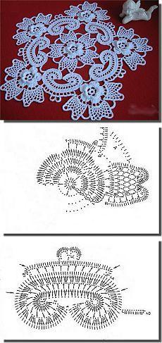Petit napperon de 24cm  /  Le motif central. A faire en entier pour le centre et…