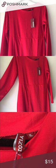 NWT Red Long Sleeve Dress with Slit Brand new with tags red dress. Long sleeve. Zipper in back. Slit up leg yizoo Dresses Long Sleeve