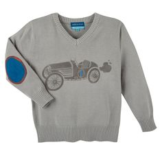 Andy & Evan Race Car Sweater in Heather Grey