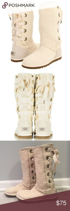 "Ugg Heirloom Lace Up Ivory Suede Tall Boot Size 5, but could fit a 5.5 as well. Very pretty and trend,""; would go with just about anything! Small discoloration on one of the boots, but it's not near noticeable when on! lightly worn! Open to offers as well! UGG Shoes Lace Up Boots"