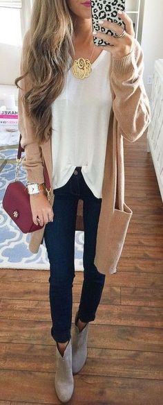 #fall #southern #american #style   Camel Cardigan + Black and White