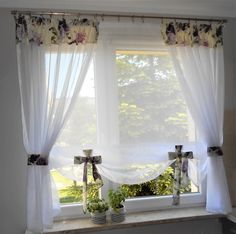 Living Room Decor Curtains, Living Room Divider, Diy Curtains, Curtains With Blinds, Sheer Curtains, Bedroom Decor, Kitchen Window Valances, Rideaux Design, Curtain Designs