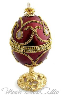Gold Plated Goose Egg with Regal Wine Red Color