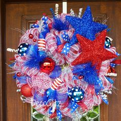 PATRIOTIC Wreath with STARS and FIRECRACKERS by decoglitz on Etsy