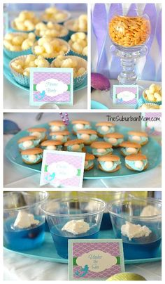 Little Mermaid party food ideas:      Pirates Booty     Fishes     Oyster Cookies     Under the Sea (Jello cups)     Nautical Nuggets ...