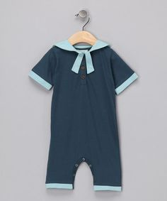 Take a look at this Dark Blue Sailor Organic Romper - Infant by violet + moss Boys on #zulily today!