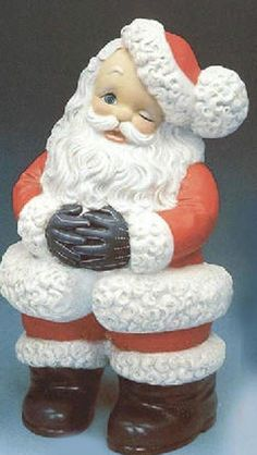 "Ceramic Bisque Ready to Paint Medium Winking Santa 13.5"" tall #Unbranded"