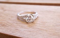 Beautiful 1.06 carat Old Mine cut diamond set in a lovely Art Deco inspired white gold and diamond mounting.