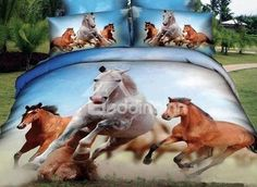 White and Brown Horses Reactive printing 3D 4 Piece Bedding Sets Duvet Cover Sets
