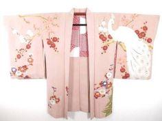Vintage-Japanese-Kimono-Haori-Jacket-Amazing-Peacock-Plum-Blossom-Silk