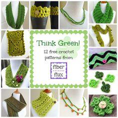 Think Green! 12 Free Crochet Patterns from Fiber Flux