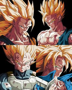 Los legendarios super saiyajines by: - - Dragon Ball Gt, Dragon Ball Image, Dragon Images, Art Anime, Fan Art, Art Graphique, Animes Wallpapers, Comic Art, Comic Books