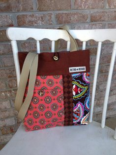 Ecofriendly JOLLY Patchwork Tote Quilted Bag by RetroRehabShop, $30.00