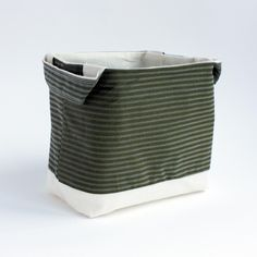 Green striped fabric basket £6.00