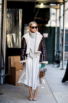 Bomber Jacket and Metallic Skirt - Creative Winter Outfit Ideas From New York Fashion Week Street Style - Photos