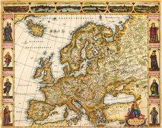 Europe  de Wit, Frederick    Nova Europae Descriptio Auct. F. de Wit.    Amsterdam, Frederic de Wit, 1680 [44,5 x 55,7 cm]  Copper-engraving, handcolored by a later hand in outline and wash. In the lower right corner a figurative title cartouche. The map is richly ornated by cityviews and costumes at three sides. Frederic de Wit's continent map of Europe, ornated in the upper margin with city views of European capitals: Rom, Amsterdam, Paris, London, Sevilla and Prag.