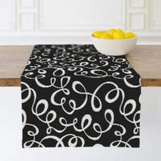 Lovely design table runner looks good year round on your table, Looping Scrawl Table runners Modern Table Runners, Table Linens, Outdoor Furniture, Outdoor Decor, Accent Decor, Design Table, Ottoman, Mint, Chair