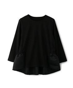 ESTNATION WOMEN(ウィメン)のESTNATION ぺプラムカットソー(Tシャツ/カットソー)|ブラック