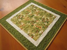 Pine Table Topper, Centerpiece, Quilted Table Square, Tabletop