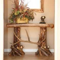 aspen and elk antler sofa table is unique as well as rustic perfect for displaying in your entry way or in your living room - Hunting Bedroom Decor