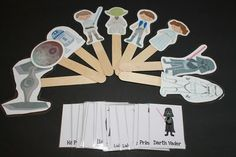 a homemade gift from sibling to sibling. Star Wars matching game and stick puppets