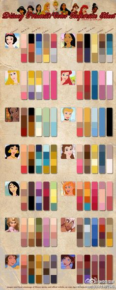 For my little princess one day (: Disney Princess Color Palette great for a princess themed room! For my little princess one day (: Disney Princess Color Palette great for a princess themed room! Frozen Disney, Disney Love, Disney Magic, Disney Art, Disney Stuff, Disney Princess Colors, Little Princess, Disney Princess Makeup, Disney Princess Weddings