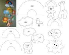 Best 12 Crochet Stitch pattern – Amigurumi Lilo and Stitch crochet pattern – Disney crochet pattern- Crocheted Stuffed Toys for baby – SkillOfKing. Felt Animal Patterns, Felt Crafts Patterns, Baby Mobile Felt, Felt Baby, Initial Canvas, Felt Templates, Personalized Wall Art, Felt Toys, Felt Ornaments