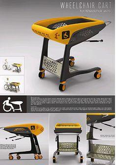 ▲ Best Product Award - 'Shopping cart for wheelchair users' (Han Tae-ho, Kim Hye-rim) Industrial Design Portfolio, Portfolio Design, Fallout Concept Art, Presentation Board Design, Slider Design, Medical Design, Instructional Design, Cool Technology, Brochure Design
