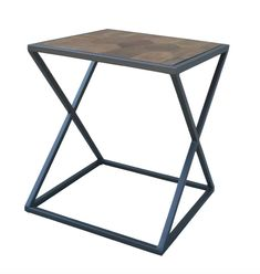 "Noel 20"" Parquet Top Accent Table - French Gray"