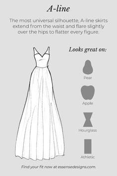 A glossary of wedding dress silhouettes that will help you achieve the bridal vision of your dreams! Learn which dresses compliment your bridal vision. Wedding Dress Sketches, Wedding Dress Types, Making A Wedding Dress, Wedding Dress Patterns, Dream Wedding Dresses, Fashion Sketch Template, Fashion Design Sketches, Dusty Pink Bridesmaid Dresses, Essense Of Australia