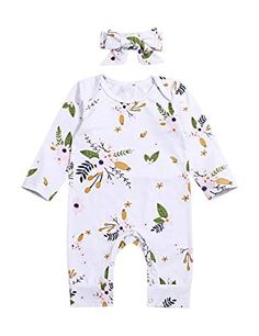 f70b7bfa98 Amazon.com  Newborn Infant Baby Girl Clothes Floral Printed Romper Long  Sleeve Jumpsuit with Headband Clothing Set  Clothing