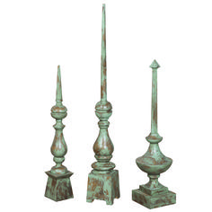 To add vertical interest to a coastal inspired room. Distressed Aque Blue Finials- set of three