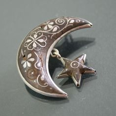 Victorian Crescent And Star Pique Brooch