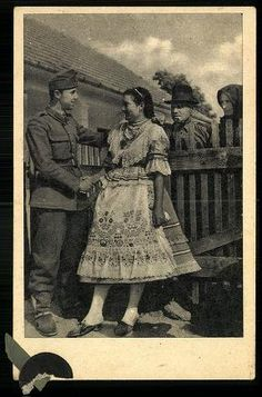 soldier and girl, Szabadságos kiskatona kedvesénél látogatóban Art Costume, Folk Costume, Hungarian Women, Dance Wallpaper, Eastern Europe, Traditional Outfits, Hungary, Old Photos, The Past