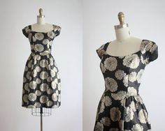 golden roses dress / 50s dress / 1950s party dress by 1919vintage