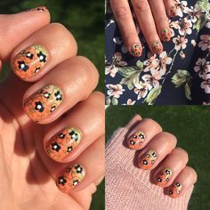 Floral stamped on pink and orange gradient #nail #nails #nailart
