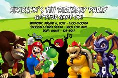 Gamers Custom Designed Birthday Party Invitation - Any Characters, Mario, Donkey Kong, Birds, Bowser - You Decide!!  Make your occasion special with this unique Party Invitation! The invite is persona