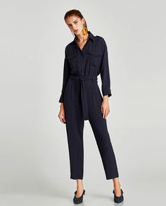 New Collection Online Urban Apparel, High Street Fashion, Zara Jumpsuit, Jumpsuit Outfit, Crepes, Zara Overall, White Playsuit, Slingback Shoes, Zapatos