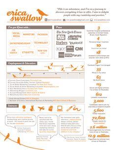Fantastic visual resume example erica-swallows-infographic-resume by Erica Swallow via Slideshare Cv Design, Resume Design, Letterhead Design, Design Ideas, Graphic Design, Best Resume, Resume Cv, Sample Resume, Resume Format