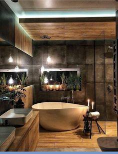 Ein Spa zu Hause ✨ Das Badezimmer ist ein intimer und privater Ort, an dem wir… A spa at home ✨ The bathroom is an intimate and private place where we … Industrial Bathroom Design, Modern Bathroom Design, Bathroom Interior Design, Bathroom Designs, Contemporary Bathrooms, Modern Industrial, Rustic Modern, Modern Luxury, Industrial Bedroom Decor