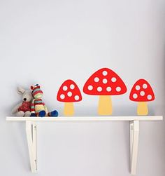 Set Of Five Toadstool Wall Stickers by Little Chip, the perfect gift for Explore more unique gifts in our curated marketplace. Red Nursery, Baby Nursery Decor, Nursery Ideas, Bedroom Ideas, Red Feature Wall, Red Wall Decor, Wall Transfers, Bedroom Red, Girls Bedroom