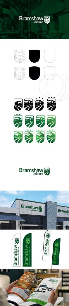The Bramshaw Leisure identity needed to align its brand with values such as luxury, authority and professionalism. This was achieved via the application of opulent greens, balanced fonts and plush logo mark. The motorohome symbol encroaches the space outside the holder (shield) shape, producing dynamism. Shield and Star shapes promote a sense of professionalism and excellence.