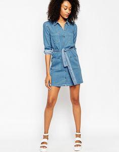 Bild 4 von ASOS – Jeans-Hemdkleid mit Gürtel