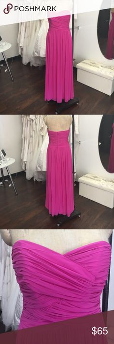 Full length strapless dress Bright pink full length lux chiffon gown. Small flaw on the bottom back of the dress. The dress is new it must of happened in shipping or receiving. Dessy Dresses Maxi