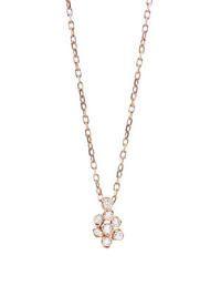 Tiny Diamond Flower Necklace - Rose Gold