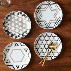 Silver Star Hanukkah Plates (Set of 4) | West Elm