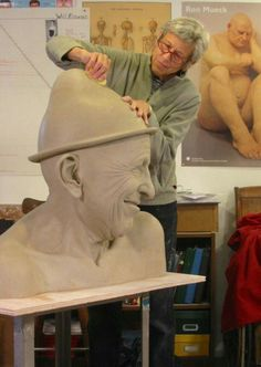"""Concept Modeling For Easy Clay Sculptures: – Picture : – Description Tip Toland, working on """"Surely"""" (from the 2011 Jester series). A visual pun to die for. Easy Clay Sculptures, Sculpture Head, Sculpture Portrait, Ceramic Figures, Ceramic Artists, Contemporary Sculpture, Paperclay, Clay Art, Art Studios"""